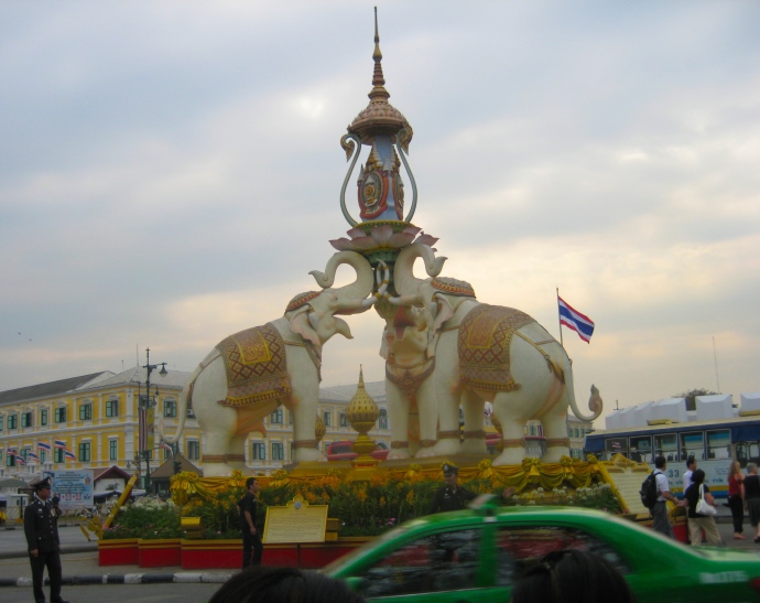 Elephants greet us at the entrance to the Grand Palace