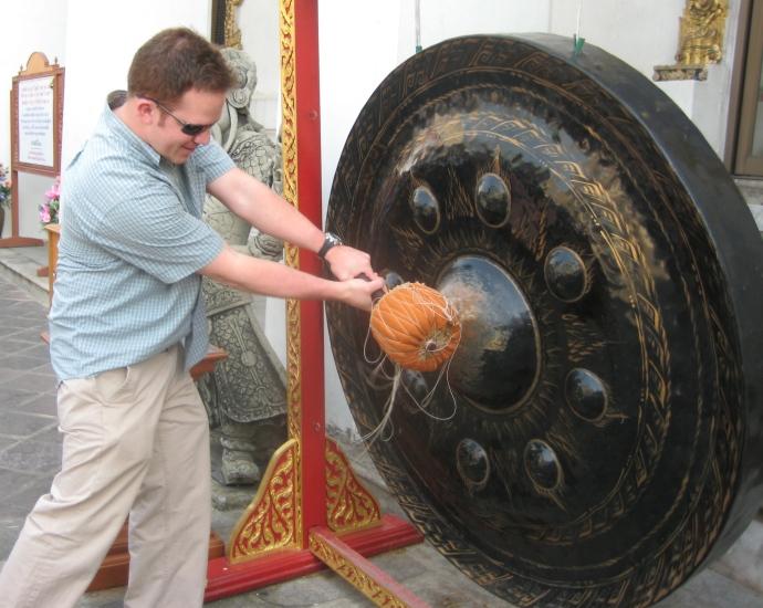 Ryan beats the gong