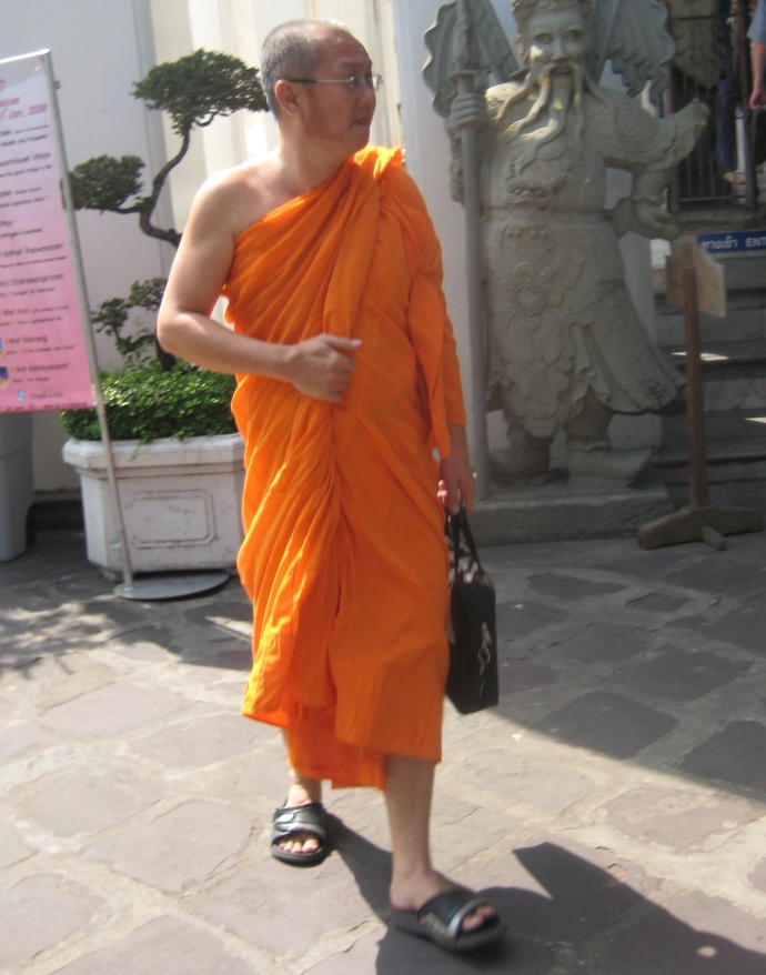 a Buddhist monk at Wat Pho