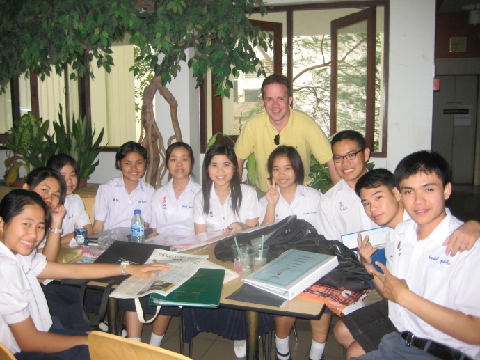 Ryan with students at Chulalongkorn University