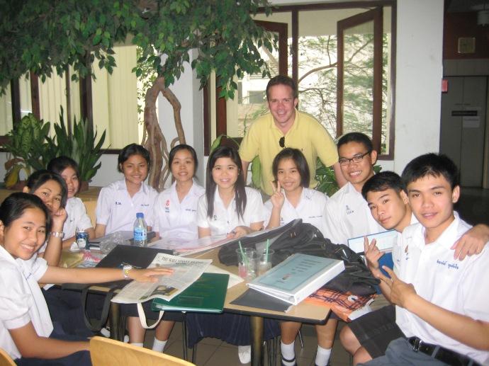 Ryan with students at Chulalongkorn University