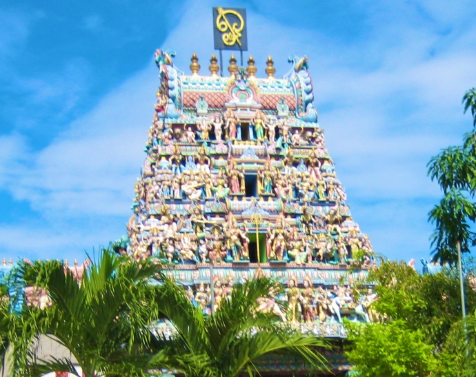 the gopuram on the temple