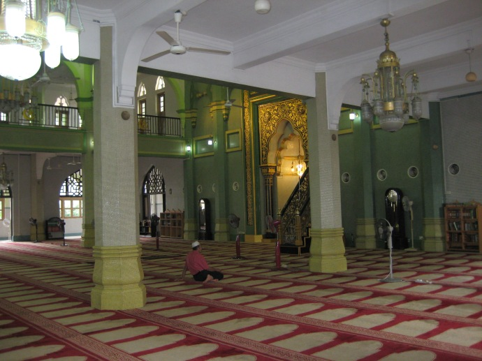 Inside the prayer hall of the Masjid Sultan