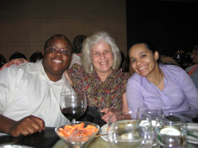Tendai, me and Luz at dinner