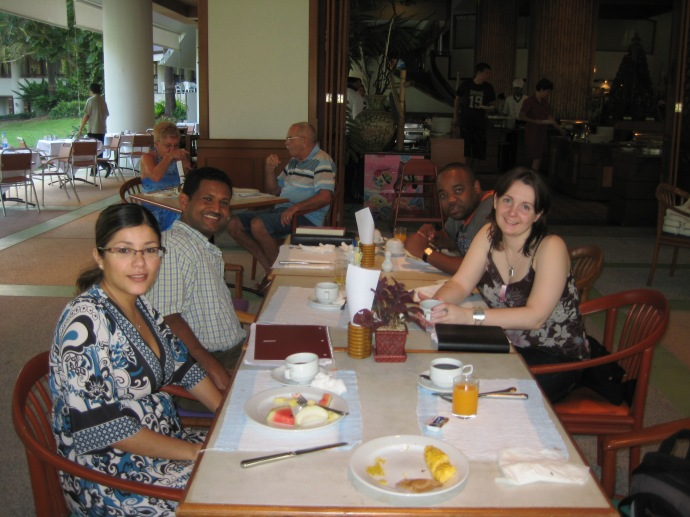 Johanna, Jitesh and ?? at breakfast