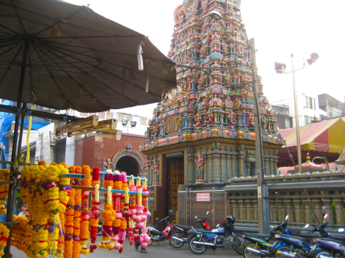 Sri Maha Mariamman Temple and shops of offerings
