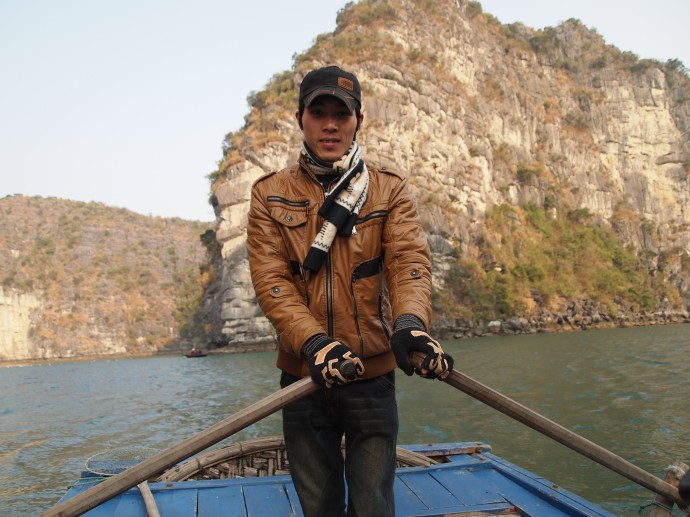 our bamboo boat operator