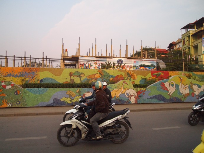 the mosaic wall in hanoi