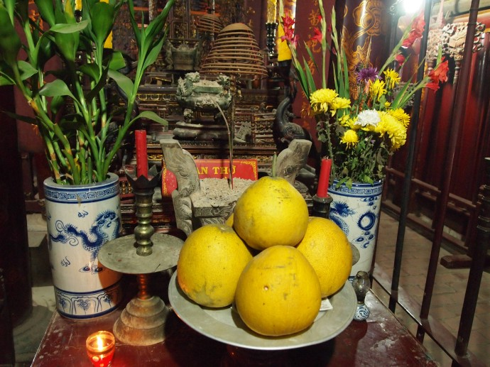 offerings to the Buddha in the temple at Hoa Lu