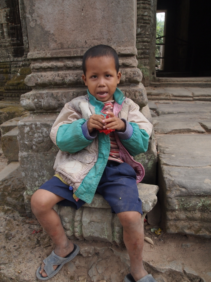 a little Cambodian boy at Preah Khan