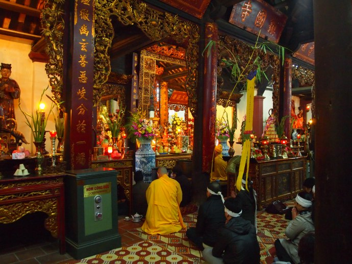 the temple at tran quoc with monk presiding