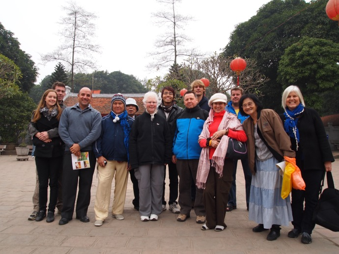 our vagabond group on the hanoi city tour