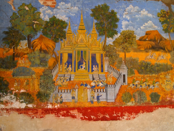 painted murals at the royal palace