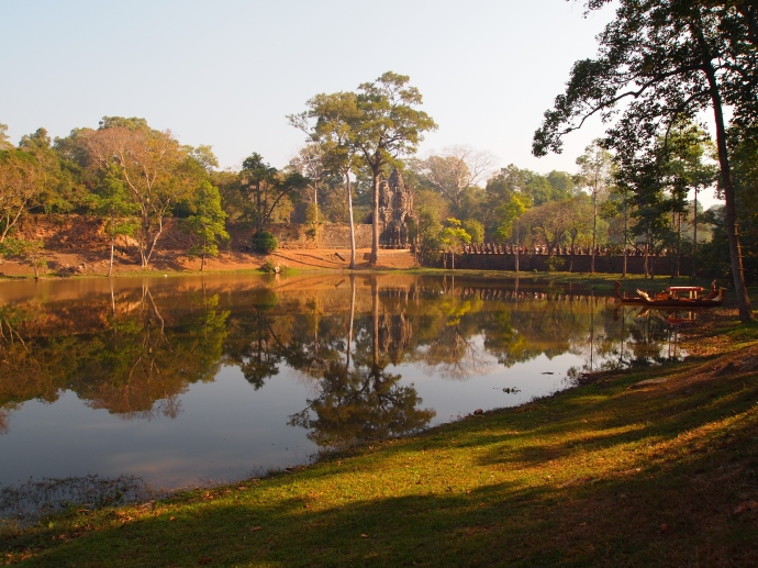 looking across the moat to the east gate of angkor thom