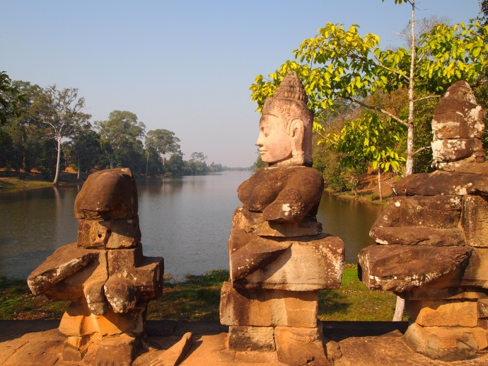 the gods and the moat in front of Angkor Thom