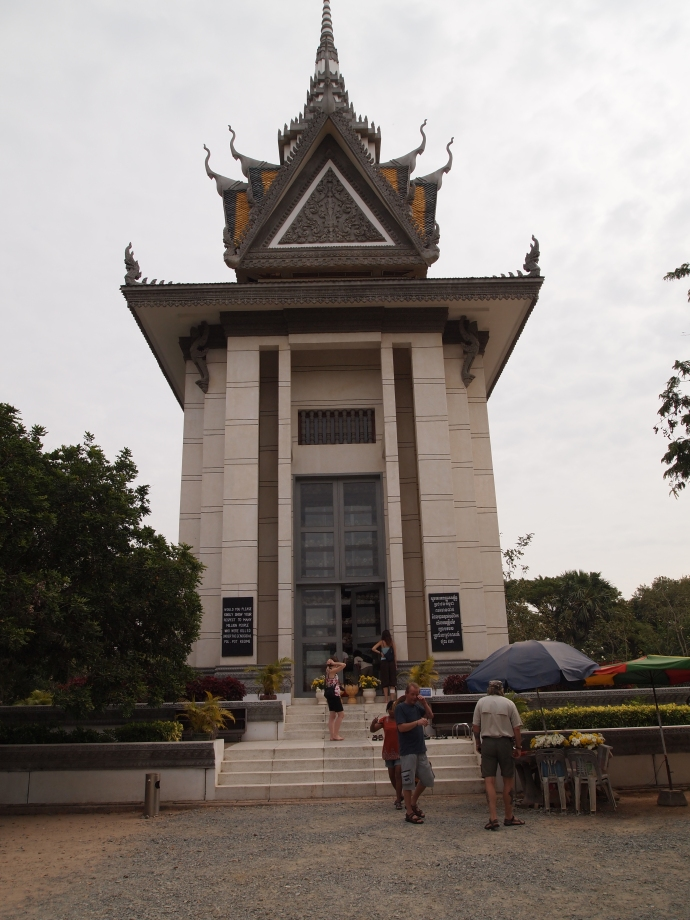 the commemorative stupa at the killing fields