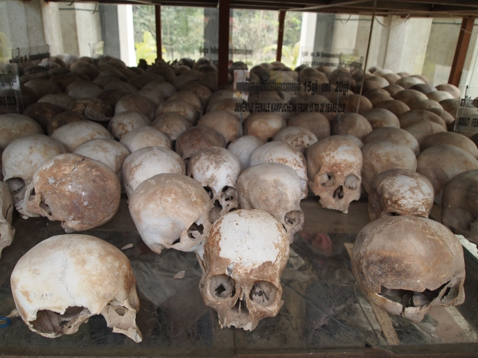 Human skulls at the Genocide Museum