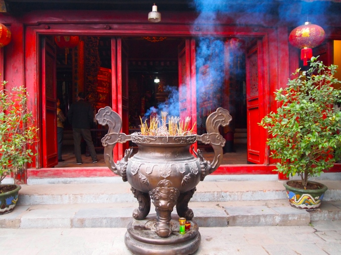 incense burning at Hoan Kiem Lake