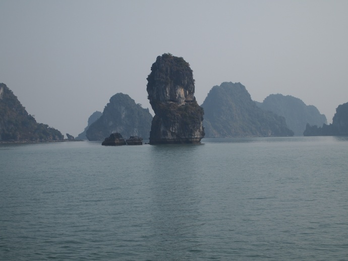 cruising into Halong Bay on our junk