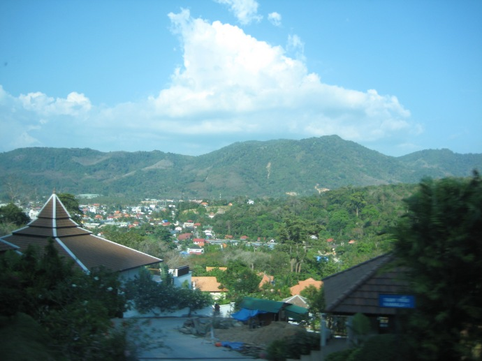 view of Phuket from the bus window