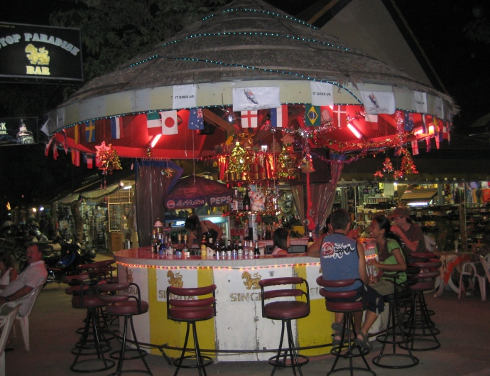 a little bar at a night market in Phuket