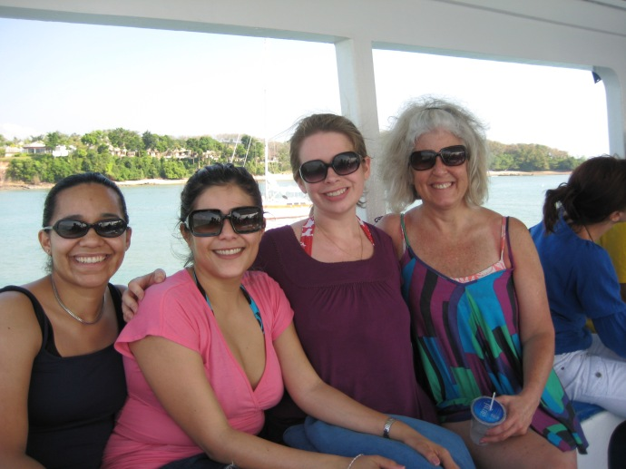 Luz, Johanna, Jennifer and me on the boat ride in Phang Nga Bay