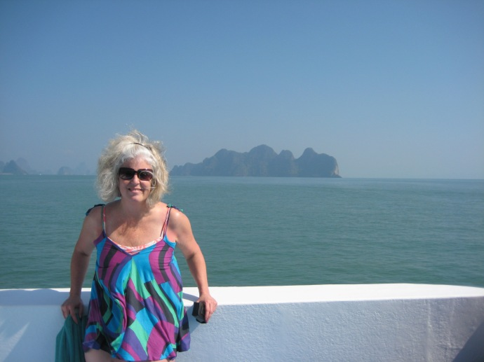 me with the limestone cliff islands behind