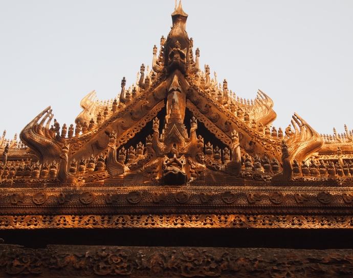 intricate details at Shwe Nandaw Kyaung