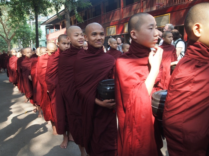 Monks in line for their daily lunch