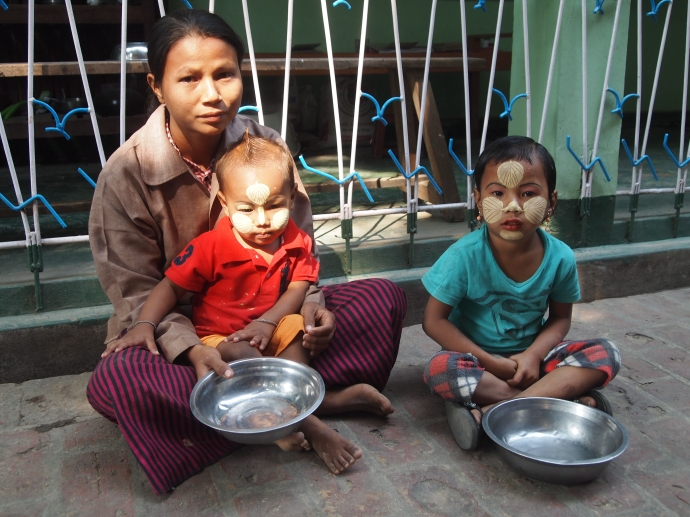 Burmese mother and her children