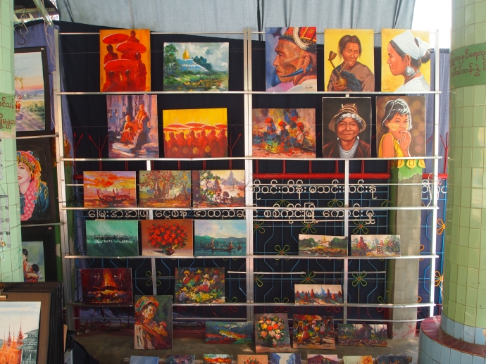 Paintings for sale at Swan Oo Pon Nya Shin Pagoda