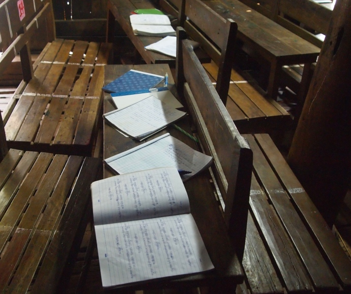 monks' notebooks at Bagaya Kyaung teak monastery