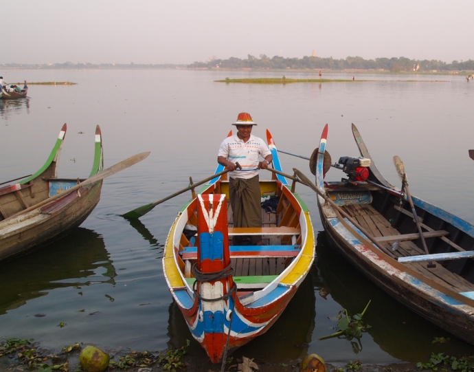Boatman at U Bein Bridge