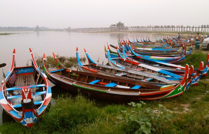 boats at U Bein Bridge