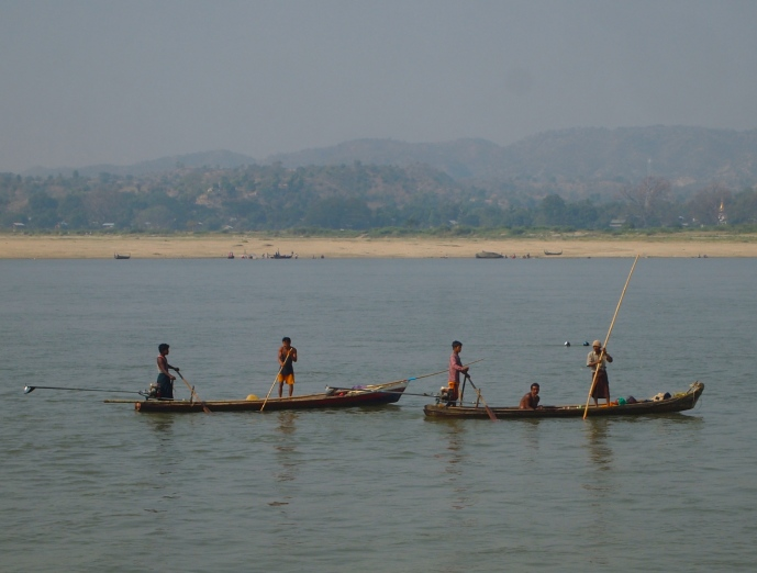 fishing boats on the Ayeyarwady