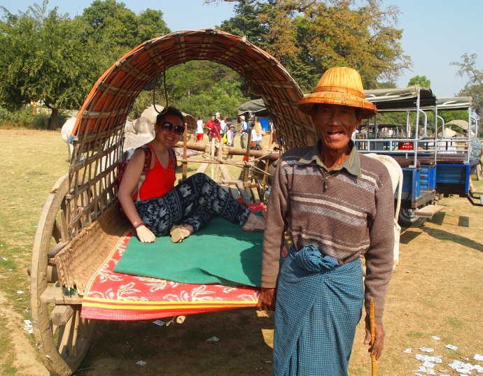 Sarah and our oxcart driver
