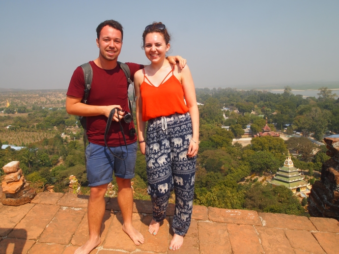 Shaun and Sarah at the top of Mingun Paya
