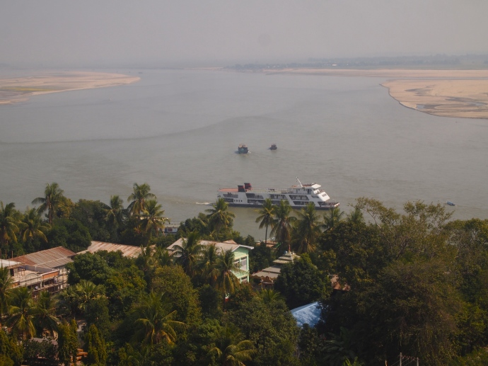 View of the Ayeyarwady from the top of Mingun Paya