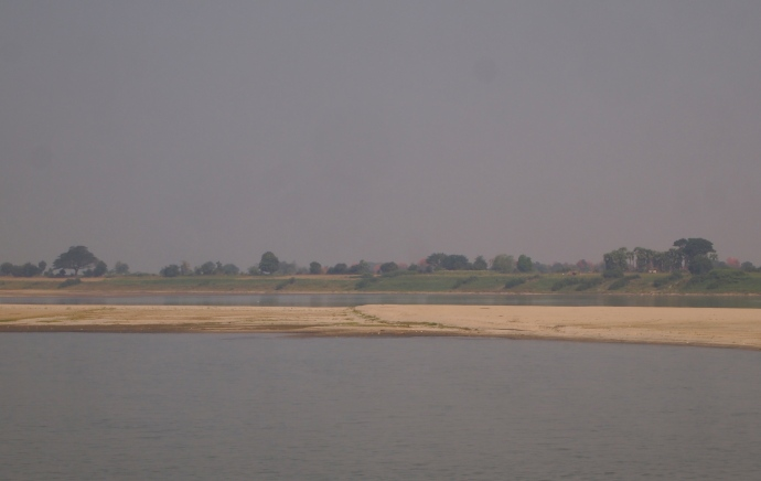 the flat land along the river