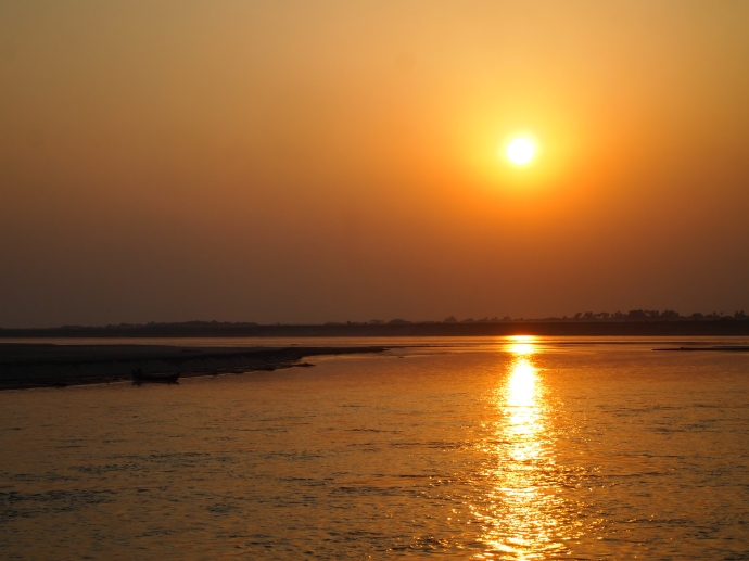 sunset on the Ayeyarwady