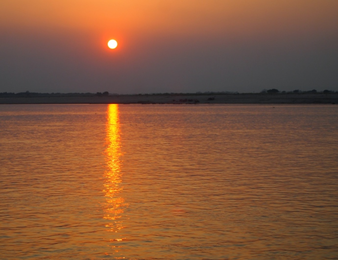 sunset on the river near Bagan