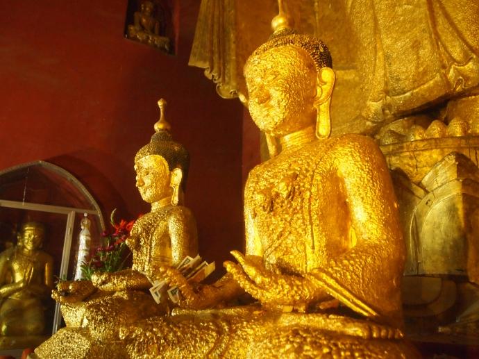 gilded sitting Buddhas