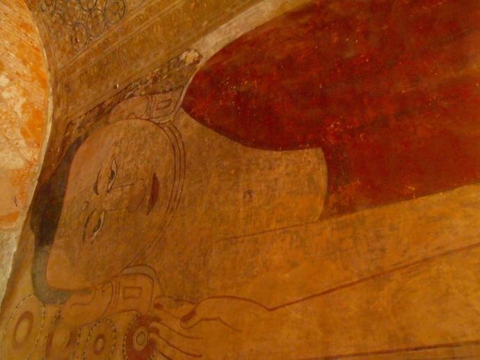 reclining Buddha fresco in Sulamani Pahto