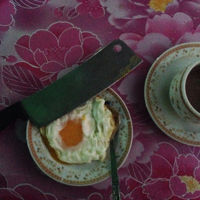 Eggs with a cleaver