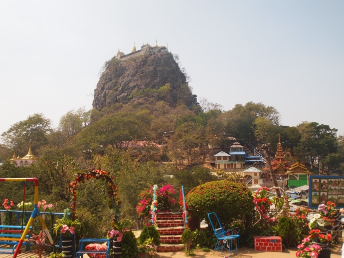 Looking back at Mt. Popa from a shrine along the way