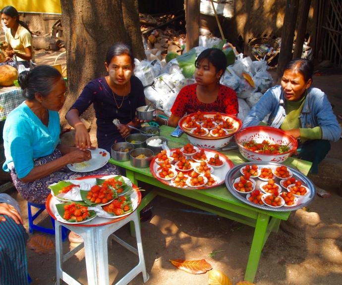 Burmese ladies selling strawberries