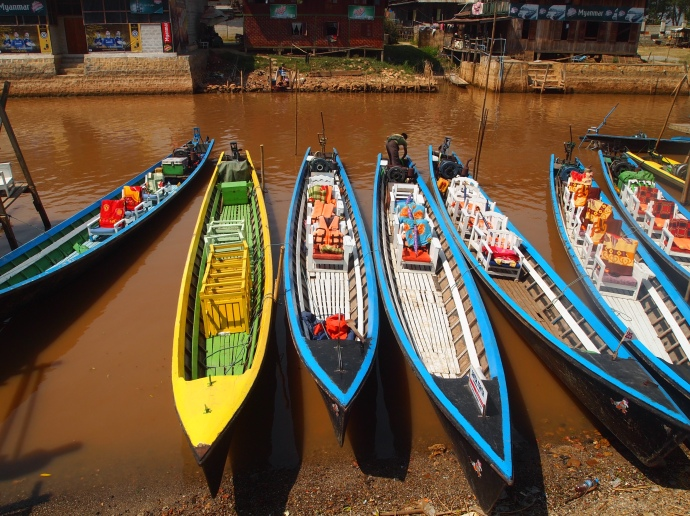 long-tail motorboats used for plying the waters at Inle Lake