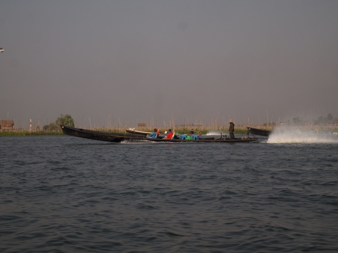 long-tail boats on Inle Lake