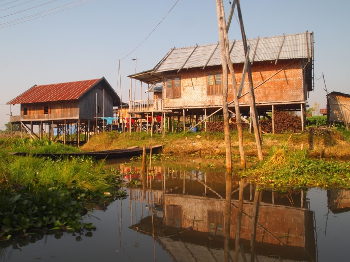 stilt houses in a village