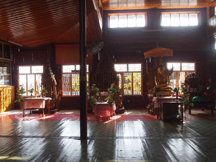 Meditation hall at Nga Phe Chaung Monastery